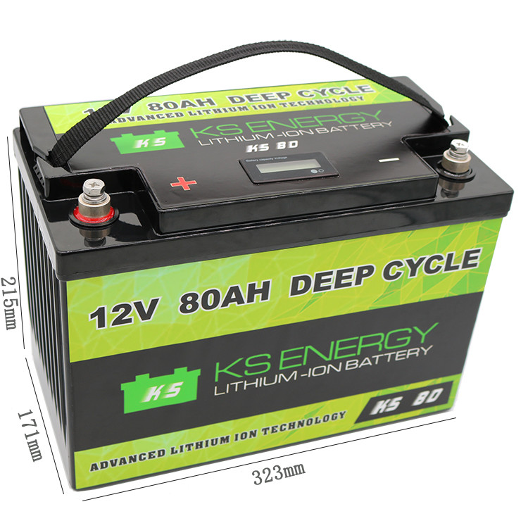 Safe And Lightweight LED Power Display 12V 80Ah Lithium Iron Phosphate Battery Alternative To Lead-acid In Your Marine,Solar,RV
