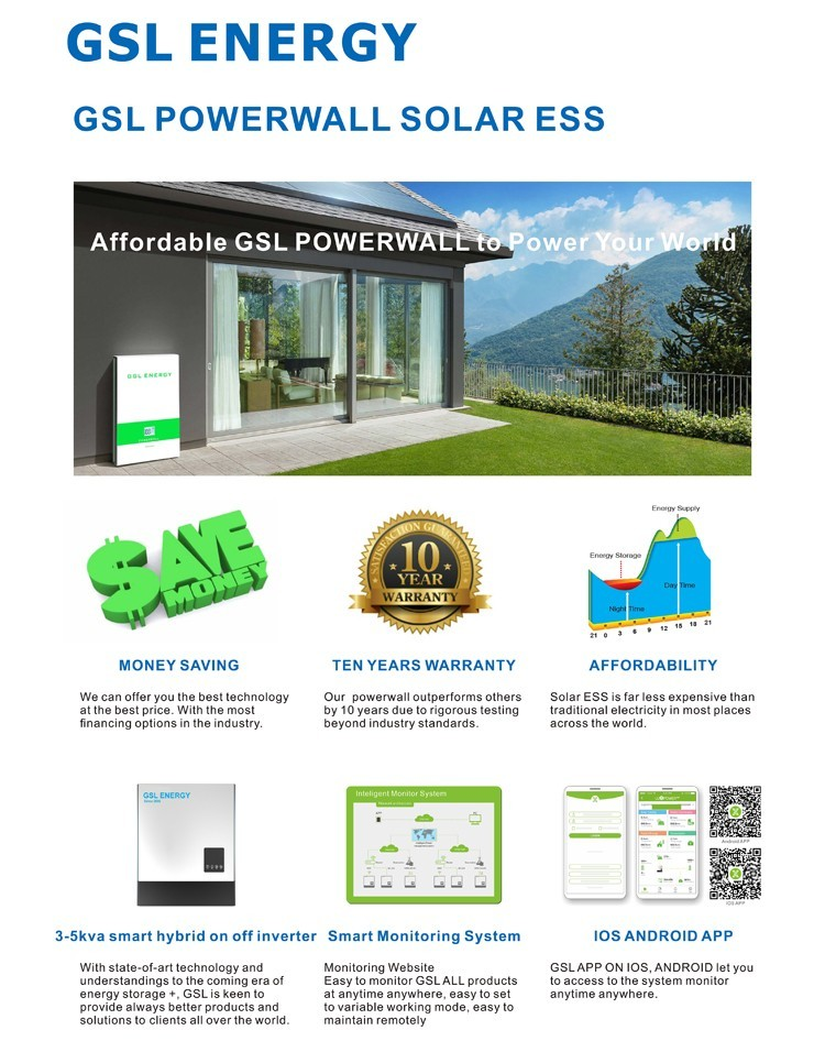 GSL ENERGY best material tesla home powerwall for solar storage