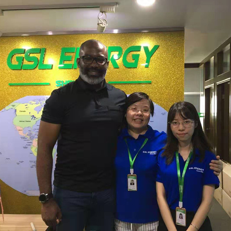 USA client visits GSL ENERGY for powerwall2 48v 100ah 5kwh lifepo4 battery cooperation