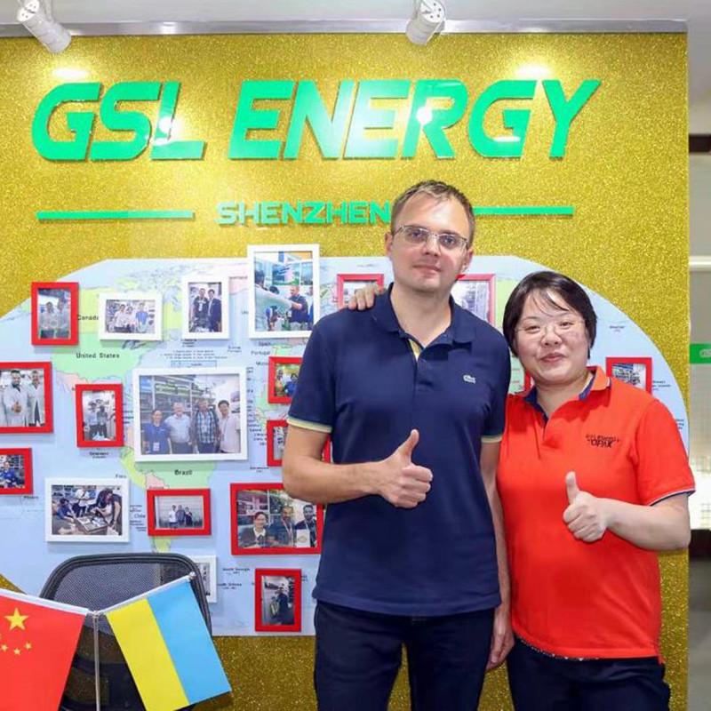 Ukraine client Mr. Alexander visited GSL ENERGY for 48v 50ah-2000ah 5U rack design lifepo4 lithium ion battery cooperation
