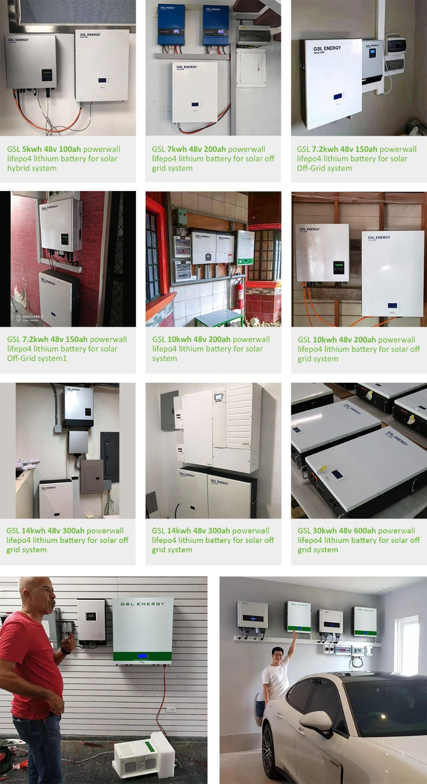 GSL ENERGY Custom powerwall 10kwh for business